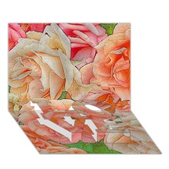 Great Garden Roses, Orange Love Bottom 3d Greeting Card (7x5)