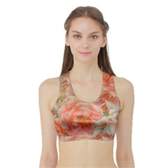Great Garden Roses, Orange Women s Sports Bra With Border by MoreColorsinLife
