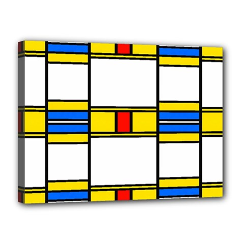 Colorful Squares And Rectangles Pattern Canvas 16  X 12  (stretched) by LalyLauraFLM