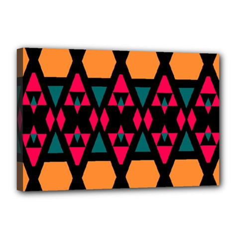 Rhombus And Other Shapes Pattern Canvas 18  X 12  (stretched) by LalyLauraFLM