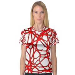Hot Web Red Women s V Neck Sport Mesh Tee by ImpressiveMoments