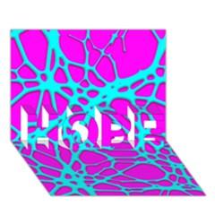 Hot Web Turqoise Pink Hope 3d Greeting Card (7x5)