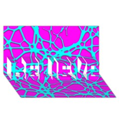 Hot Web Turqoise Pink Believe 3d Greeting Card (8x4)  by ImpressiveMoments