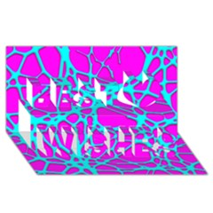 Hot Web Turqoise Pink Best Wish 3d Greeting Card (8x4)