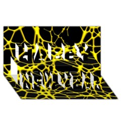 Hot Web Yellow Happy New Year 3d Greeting Card (8x4)