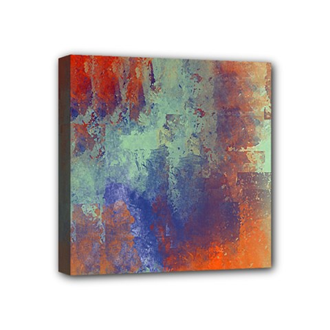 Abstract In Green, Orange, And Blue Mini Canvas 4  X 4  by theunrulyartist