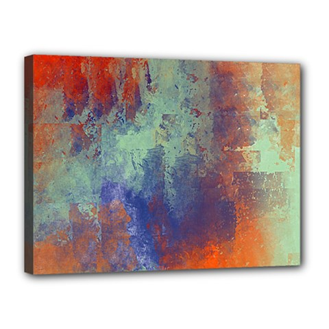 Abstract In Green, Orange, And Blue Canvas 16  X 12  by theunrulyartist