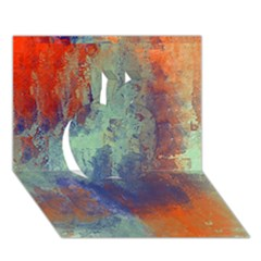 Abstract in Green, Orange, and Blue Apple 3D Greeting Card (7x5)