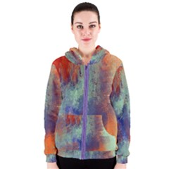 Abstract In Green, Orange, And Blue Women s Zipper Hoodies by theunrulyartist