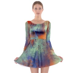 Abstract In Green, Orange, And Blue Long Sleeve Skater Dress