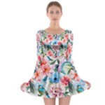 flower - Long Sleeve Skater Dress
