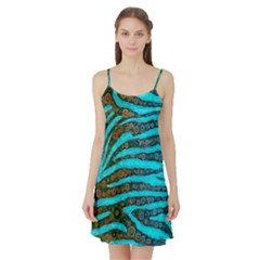 Turquoise Blue Zebra Abstract  Satin Night Slip by OCDesignss