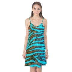 Turquoise Blue Zebra Abstract  Camis Nightgown by OCDesignss