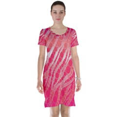 Florescent Pink Zebra Pattern  Short Sleeve Nightdresses by OCDesignss