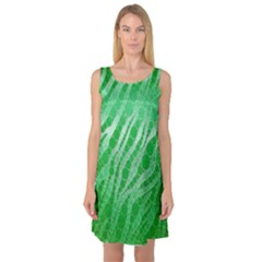 Florescent Green Zebra Abstract  Sleeveless Satin Nightdresses by OCDesignss