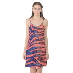 Florescent Orange Blue Zebra Abstract  Camis Nightgown by OCDesignss