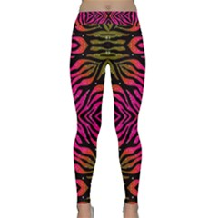 Florescent Pink Green Zebra Abstract  Yoga Leggings by OCDesignss