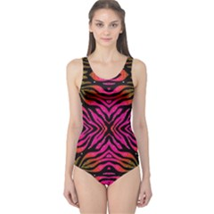 Florescent Pink Green Zebra Abstract  Women s One Piece Swimsuits by OCDesignss