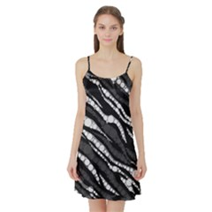 Black&white Zebra Abstract  Satin Night Slip