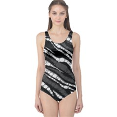 Black&White Zebra Abstract  Women s One Piece Swimsuits