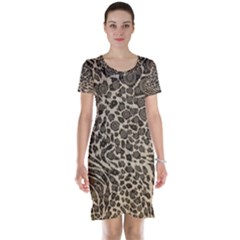 Brown Cheetah Abstract  Short Sleeve Nightdresses by OCDesignss