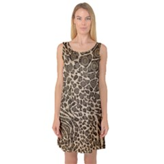 Brown Cheetah Abstract  Sleeveless Satin Nightdresses by OCDesignss