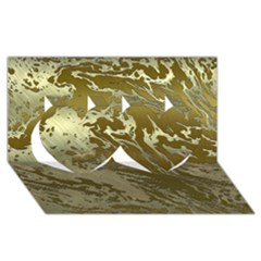 Metal Art Swirl Golden Twin Hearts 3d Greeting Card (8x4)  by MoreColorsinLife