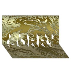 Metal Art Swirl Golden Sorry 3d Greeting Card (8x4)  by MoreColorsinLife