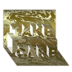 Metal Art Swirl Golden Take Care 3d Greeting Card (7x5)