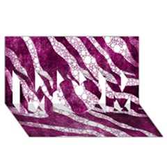 Purple Zebra Print Bling Pattern  Mom 3d Greeting Card (8x4)