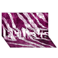 Purple Zebra Print Bling Pattern  Believe 3d Greeting Card (8x4)