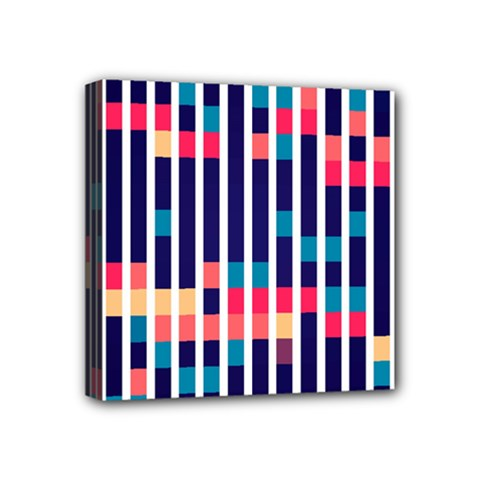 Stripes And Rectangles Pattern Mini Canvas 4  X 4  (stretched) by LalyLauraFLM