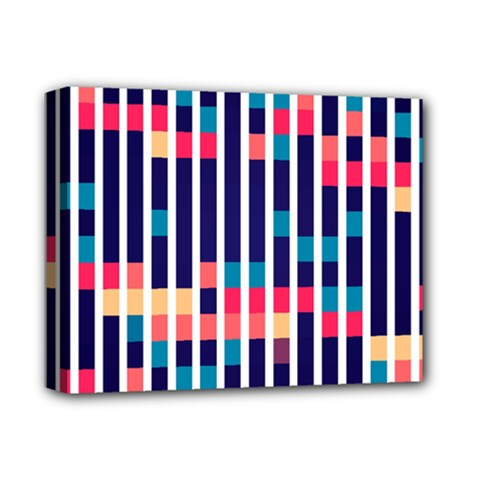 Stripes And Rectangles Pattern Deluxe Canvas 14  X 11  (stretched) by LalyLauraFLM