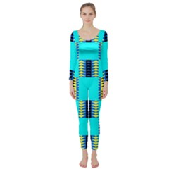 Triangles In Rectangles Pattern  Long Sleeve Catsuit