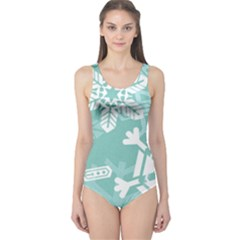 Snowflakes 3  Women s One Piece Swimsuits