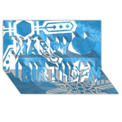 Snowflakes 1  Happy Birthday 3d Greeting Card (8x4)  by theimagezone