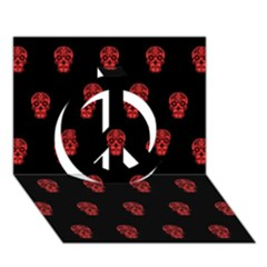 Skull Pattern Red Peace Sign 3d Greeting Card (7x5)