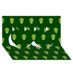 Skull Pattern Green Twin Hearts 3d Greeting Card (8x4)  by MoreColorsinLife