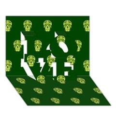 Skull Pattern Green Love 3d Greeting Card (7x5)