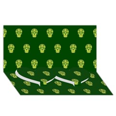 Skull Pattern Green Twin Heart Bottom 3d Greeting Card (8x4)  by MoreColorsinLife