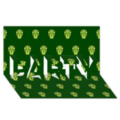 Skull Pattern Green PARTY 3D Greeting Card (8x4)