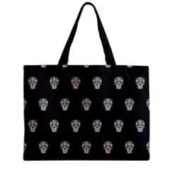Skull Pattern Bw  Zipper Tiny Tote Bags by MoreColorsinLife