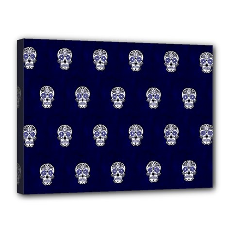 Skull Pattern Blue  Canvas 16  X 12  by MoreColorsinLife