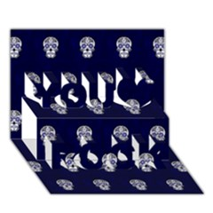 Skull Pattern Blue  You Rock 3d Greeting Card (7x5)