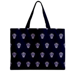 Skull Pattern Blue  Zipper Tiny Tote Bags by MoreColorsinLife