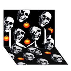 Skulls And Pumpkins I Love You 3d Greeting Card (7x5)