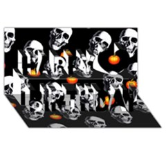 Skulls And Pumpkins Happy Birthday 3d Greeting Card (8x4)  by MoreColorsinLife