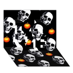 Skulls And Pumpkins Love 3d Greeting Card (7x5)