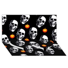 Skulls And Pumpkins Twin Heart Bottom 3d Greeting Card (8x4)  by MoreColorsinLife