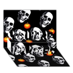 Skulls And Pumpkins You Are Invited 3d Greeting Card (7x5)